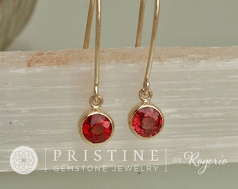 Ruby Dangle Earrings in14k Yellow Gold Round Bezel Set Earrings Fine Gemstone Jewelry Gift for Her July Birthstone