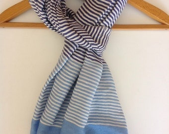 Navy blue and light blue cotton scarf with ticking stripe