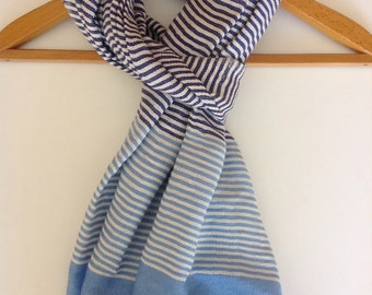 The Classic - CREME/ROYAL BLUE/ Baby Blue Stripes Scarf for Women and Men- Hand Woven Ticking Striped cotton Scarves- Echarpe -