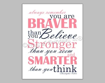 Christopher Robin Always Remember You are Braver Than You Believe Pink Navy Canvas Wall Art Print