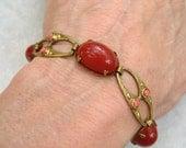 Vintage Czech Glass Bracelet Art Nouveau Carnelian Coral Brass Link
