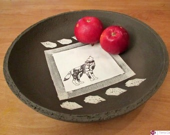 Ceramic Plate - Fruit Bowl - Wolf
