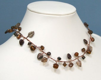 Autumn Brown Smoky Topaz Beaded Branch Necklace
