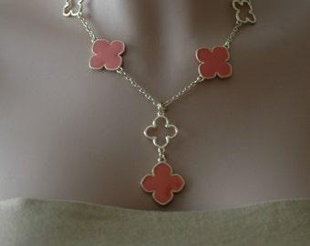 Clover Necklace, Gold and Orange Enamel Flower Necklace, Short Necklace, Gift for her