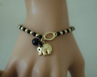 Stretch Bracelet, Elephant charm Bracelet, Dangle bracelet, Black bracelet, Gift for her, Valentines Gift