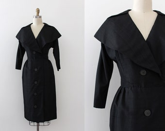 vintage 1950s Fanya dress // 50s black silk party dress with oversized collar