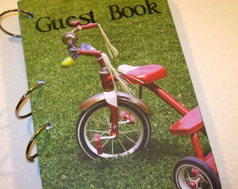 Guest Book, Tricycle Birthday, Party Sign in Book, Baby Shower Guest Book, Red Tricycle Party, Vintage Tricycle, First Birthday, Baby Shower