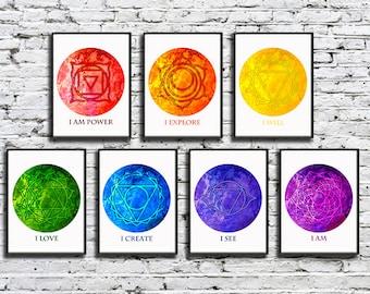 5x7 Chakra Art Prints with Affirmations Meditations