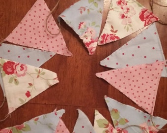 3m Rosali Fabric Bunting with Jute String 12 Double Faced  Flags Pink/White/Blue wedding/Party/Fete/Baby Shower/Tea Rooms