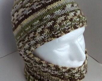 Knitted Helmet Liner, Ski Mask, Helmet Liner, Handknitted, Variegated, OOAK