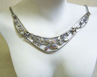Fiery White Rhinestone Necklace, Fabulous Vintage