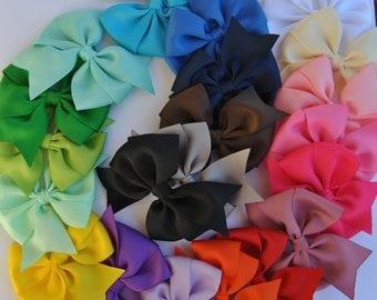 Girls Hair Bows, 5 inch Hair Bows, Girls Pinwheel Hair Bows, Non-slip Grip, You CHOOSE colors, 21 colors to choose from, Toddler Hair Bows