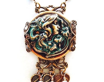 Art Nouveau Cameo Necklace, Brass Vertigris Patina, Filigree Necklace, Victorian, Neoclassical