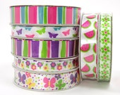 Spring Colors, Butterflies, Flowers, Watermelon, 3/8 inch Ribbon, 5/8 inch Ribbon, 3 yards per roll, Green, Purple, Blue, Yellow, Pink