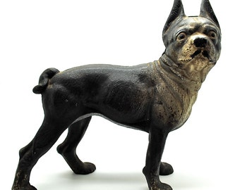 Vintage Boston Terrier Cast Iron Door Stop - Dog Statue - Vintage Dog - Vintage Terrier - Free Shipping