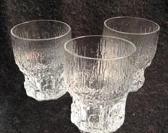 3 Iittala Aslak glasses.  Small glassware.  Tapio Wirkkala.  Made in Finland.  Vintage 1970.  Danish Modern.  Mid century modern, Eames era.