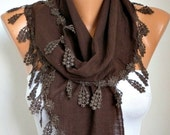 Brown Scarf  - Shawl Scarf Cotton  Scarf -  Cowl Scarf  Gift Ideas For Her Women Fashion Accessories   -