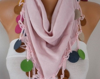 Dusty Pink Pashmina Scarf,Fall Winter Scarf,Bohemian,Wedding Scarf, - Cowl Scarves with Lace Leather Edge Womens Fashion