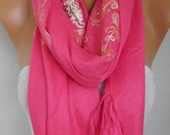 Hot Pink Embroidered Scarf,Bohemian Shawl,Oversize,Evening Wrap,Bridesmaid,Bridal Accessories, Gift Ideas For Her,Women Fashion Accesssories