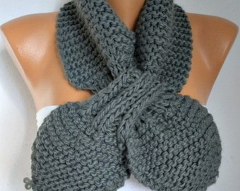 Gray Knit scarf 50s style retro Christmas Gift scarflette gypsy bow neck warmer knitted  scarlet  - Women Fashion Accessories