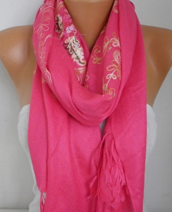 Hot Pink Embroidered Scarf,Summer Shawl, Oversized, Bridesmaid, Bridal Accessories, Gift Ideas For Her, Women Fashion Accesssories