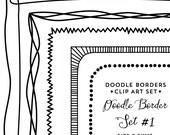 Doodle Frames Clip Art Borders Digital Download Hand Drawn Clipart