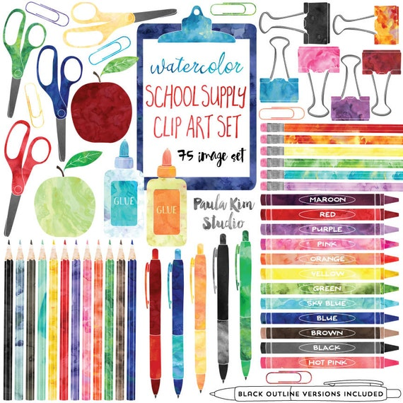 School Supplies Clip Art Teacher Clipart Commercial Use