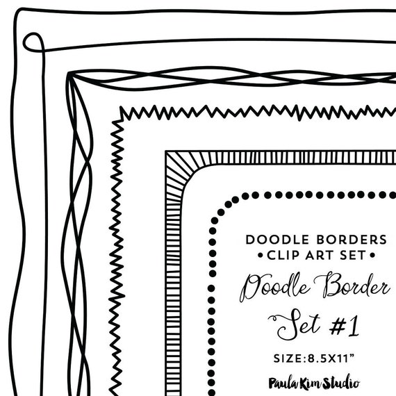 Doodle Frames Clip Art Borders Digital Download Hand Drawn Clipart