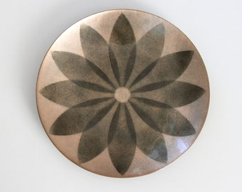 Vintage Enamel Plate Annemarie Davidson Sierra Madre California, Vintage Copper Enamel Wall Plate
