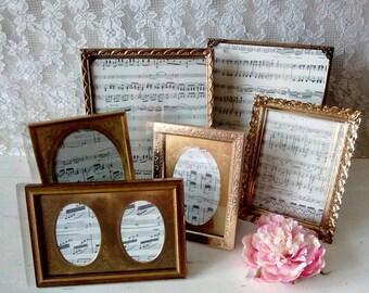 PICTURE FRAMES, Vintage frames, Gold Metal frames, Frame set, Frame grouping, Table top frames,