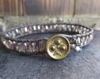 Skinny crystal leather bracelet - Blushing - neutral pale pink vintage spade button eco chic  layering boho by slashKnots