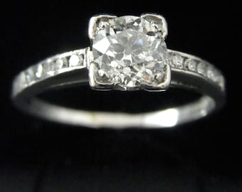 Antique Engagement Ring Old European Cut Diamond Platinum E-Fcolor/SI3 Certified