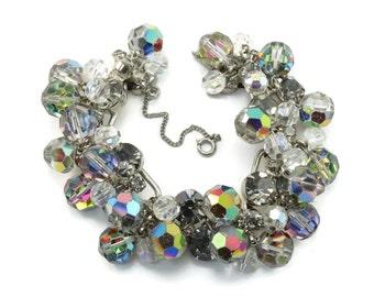 "Vintage D&E Juliana ""FANTASIA"" Rhinestone Crystal Bead 5 Link Bracelet Book Piece"