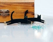 Black Flock and Silver, Gold Leaping Cat brooch.