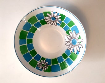Vintage Mikasa Serving Bowl / Mikasa Donna Pattern / Mikasa Cera Stone / Mid Century Mod Blue Green Daisy Serving Bowl / Made in Japan