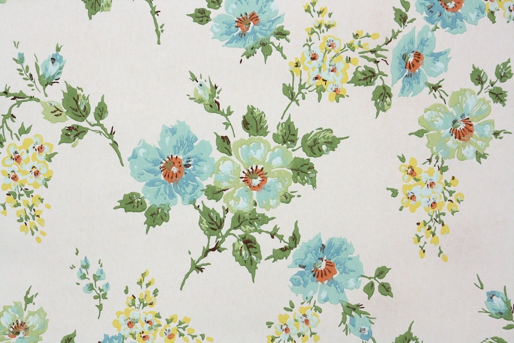 retro wallpaper by the yard 70s vintage wallpaper u2013 1970s blue and mint green flowers