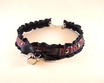 Black Cherry Leather Black Ruffle Ribbon and Bell with Silver Studs Collar Choker Necklace Goth Kawaii Cosplay Lolita Fantasy Nekomimi
