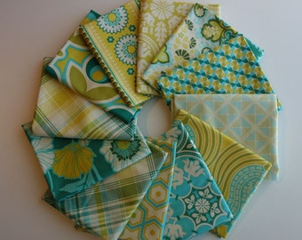 Notting Hill by Joel Dewberry for Free Spirit Fabrics - 12 Fat Quarter Bundle of Aquamarine Palette