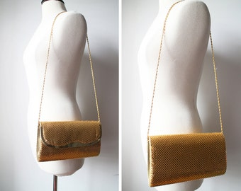 Vintage Gold Chainmail Clutch Wallet Evening Bag