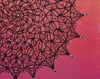 Mandala Acrylic Painting. Pink/orange