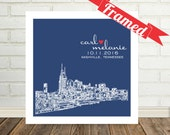 Nashville Skyline Personalized Wedding Gift FRAMED ART Nashville Art Print Any City Available Wedding Gift for Parents Gift for Him