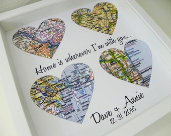 Map Art Wedding Gift : Wedding Gifts Personalized Map Art Heart Map FRAMED Print Any