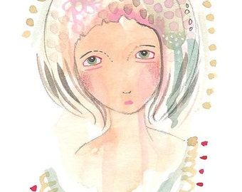 Curious girl print, gouache girl illustration, cute lady portrait