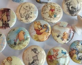 dresser pulls wood knobs decorated with Winnie Pooh and friends images 1 1/2 inch set of 6 decoupaged
