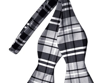 Men's Plaid Black Gray White Self-Tie Bowtie, for Formal Occasions