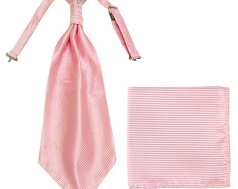 Men's Horizontal Striped Pink Ascot Cravat Tie and Handkerchief, for Formal Occasions (2010)