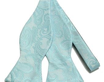 New Micro Fiber Men's Paisley Aqua Self-Tie Bow tie only, Formal Occasions (V)