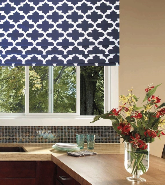 faux roman shade lined mock valance fynn navy blue white. Black Bedroom Furniture Sets. Home Design Ideas