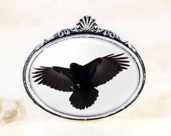 Flying Crow Brooch - Silver Bird Jewelry Brooch, Gothic Crow Jewelry, Black and White Jewelry, Bird in Flight, Bird Silhouette, Bird Brooch