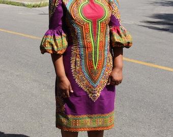 African Print Dress, Purple Dress, Dashiki Dress, Summer Dress, Casual Dress